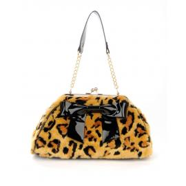 bow handbag in faux leopard