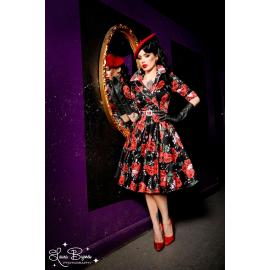 Pinup couture Haunted housewife dress in vintage red rose