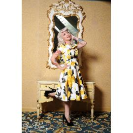 Evelyn dressin Yellow and black vintage Floral print