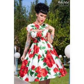 Evelyn dress in vintage red rose floral with bolero