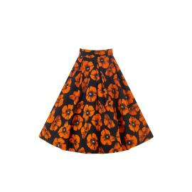 Jive Skirt Orange poppy on black