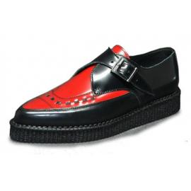 Pointed creeper monk shoe interlaced red and black