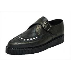 Pointed monk shoe black perf /black snake leather interlaced