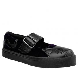 Dark purple velvet vegan kitty mary jane sneakers