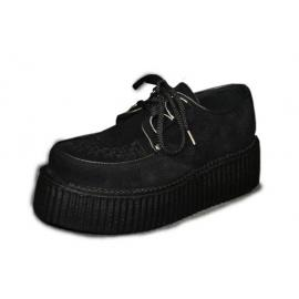 Creeper doble black suede vegan interlaced