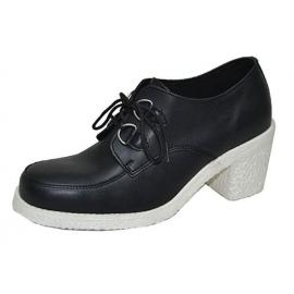 Heel creeper sole black vegan white sole black laces