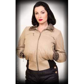 Ladies jacket with leo patch beige wool