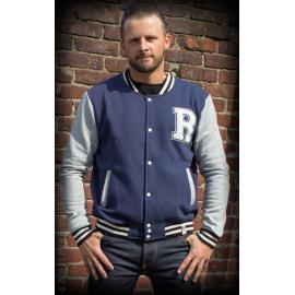 Male sweat college jacket blue/grey