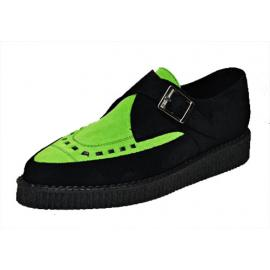Pointed creeper monk shoe, Black/Lime suede leather