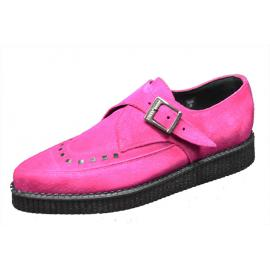 Pointes creeper monk shoe. Fuxia suede leather. Interlaced