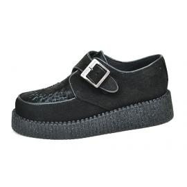 Single sole creeper. Black suede, black hair on leather. Monk shoe, interlaced.