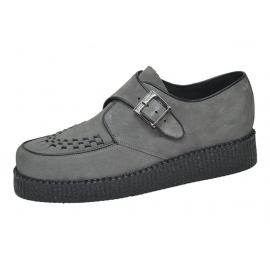 Single sole creeper. Grey suede leather. Monk shoe, interlaced