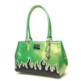 Elvira Tote Lime Green Sparkle with black mate flames
