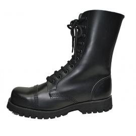Steelcap boot. 10eyes. Black box leather
