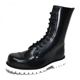 Steel cap boot. Black box leather, white sole. 10 eyelets.