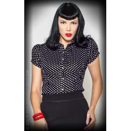 Blouse Sweet Polkadots - black