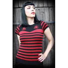 Ladies Pullover Swallow's Farewell - black/red