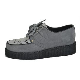 Single creeper sole. Grey with white suede leather. Black laces