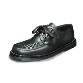 Low Creeper sole, interlaced - Black grain leather