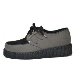 Single creeper shoe. Grey and black VEGAN suede leather. Interlaced