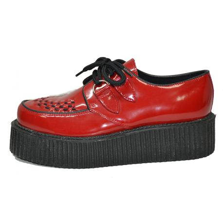 Double creeper interlaced, lace shoe. Red box leather.