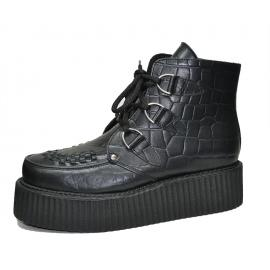 Double creeper sole boot. Croco black leather. Interlaced apron. 3D's with laces