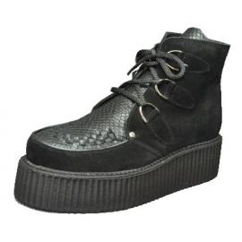 Double creeper boot. Black suede, black snake leather.