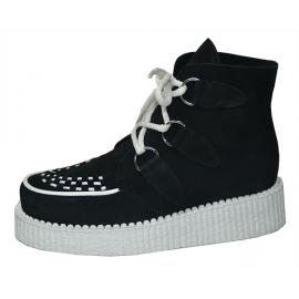Creeper boots. Black suede leather. 3 eyelets. White interlaced, sole and laces.