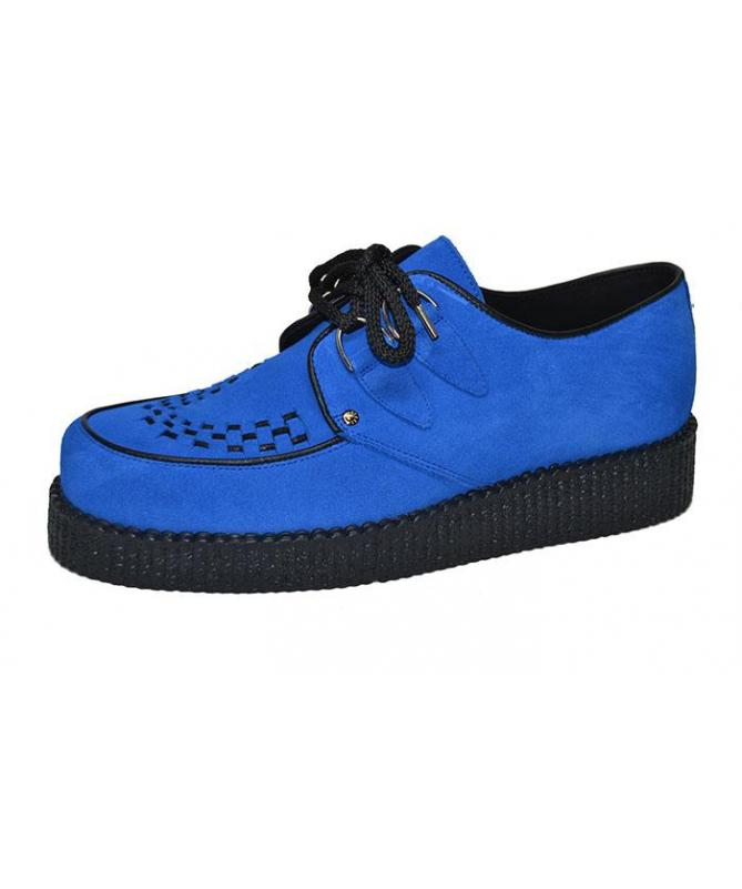 517d7f4cd307d Single sole creeper shoe. Blue suede leather. Interlaced.